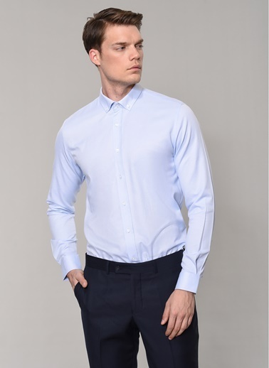 People By Fabrika Oxford Desen Gömlek Mavi
